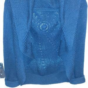 Cue & Em knit crocheted sweater cardigan